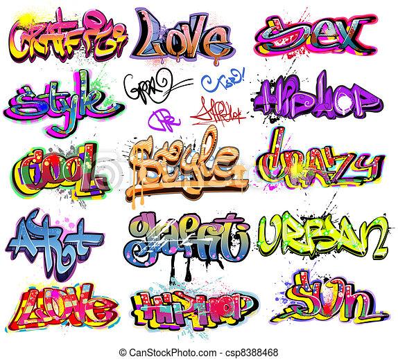 Graffiti urban art vector set - csp8388468