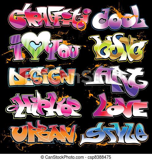 Graffiti urban art vector set - csp8388475