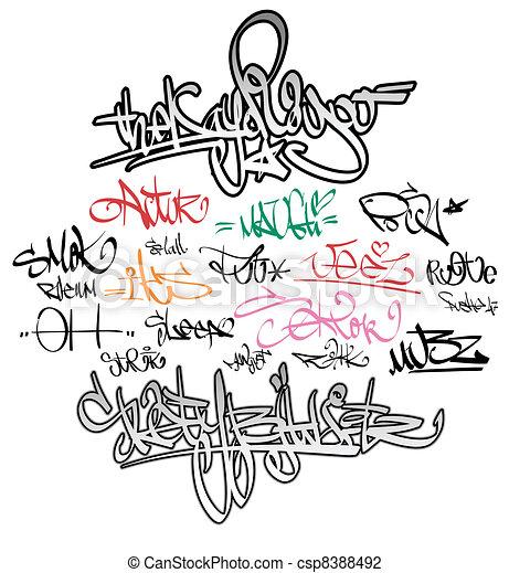 Graffiti tags urban signature - csp8388492