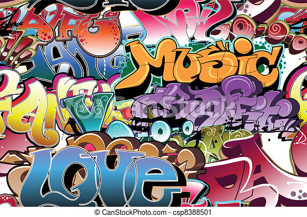 Graffiti urban background seamless - csp8388501