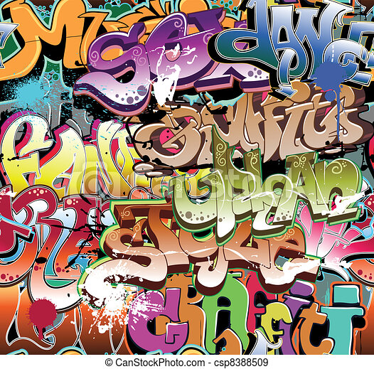 Graffiti urban background seamless - csp8388509