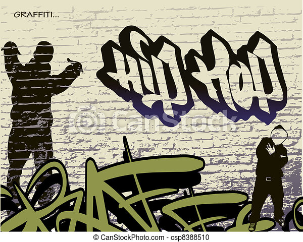 graffiti wall and hip hop person - csp8388510