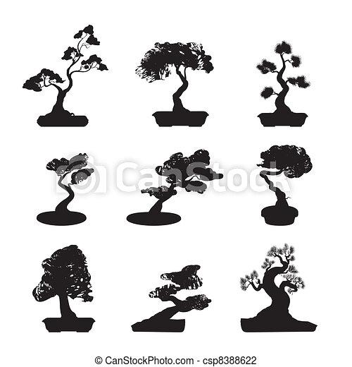 Illustration vecteur de bonsai silhouettes ensemble - Dessin bonzai ...