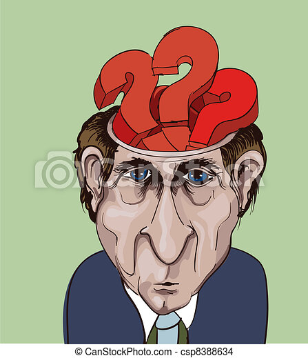 Conceptual vector illustration. Adult businessman and question marks inside his head. Choice problems - csp8388634