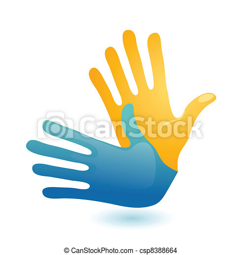 Deaf hand gesture language symbol. Two vector arms icon design - csp8388664