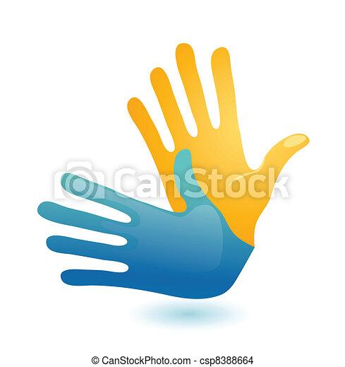 Deaf hand gesture language symbol. Two vector arms icon design - csp8388664