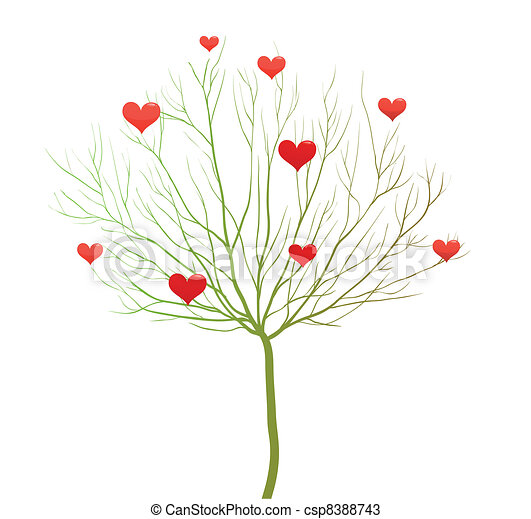 Love tree, Valentine day vector design - csp8388743