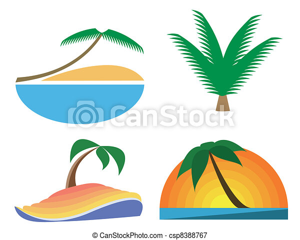 Palm-tree vector icons. Tropic symbols - csp8388767