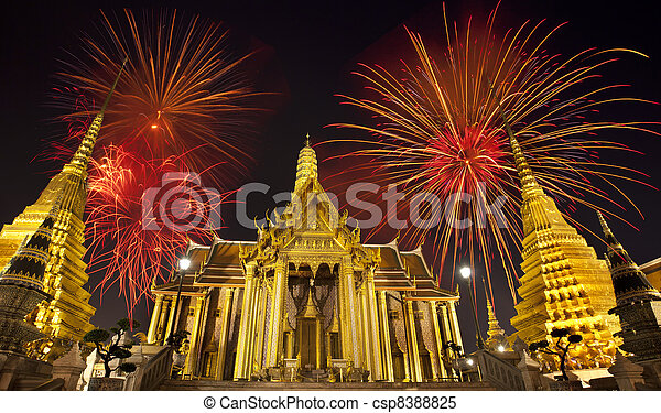 Firework on Wat Phra Kaeo (Thai royal - csp8388825