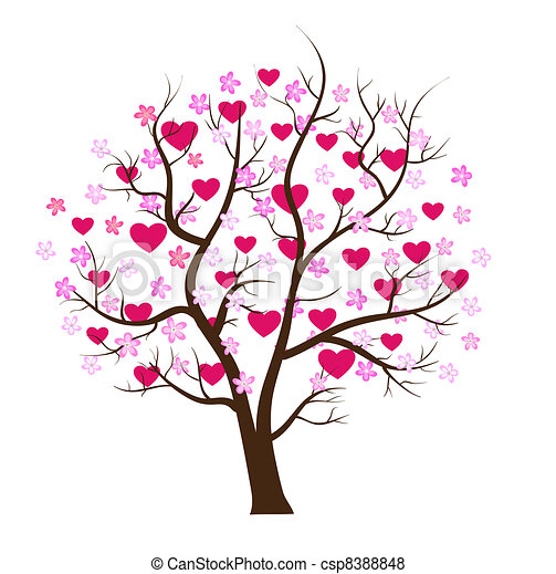 Valentine day tree love vector concept - csp8388848