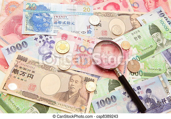 asian currency, magnifying glass and Background of asian currency (include Korean Won, Taiwan dollar, Chinese Money yuan , Hong Kong Dollar, japanese Yen) - csp8389243