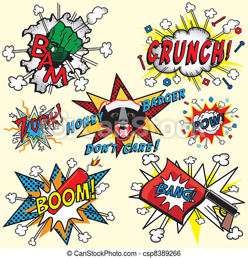 Clip Art Vector of Comic Book Explosions and Thoughts - Great ...