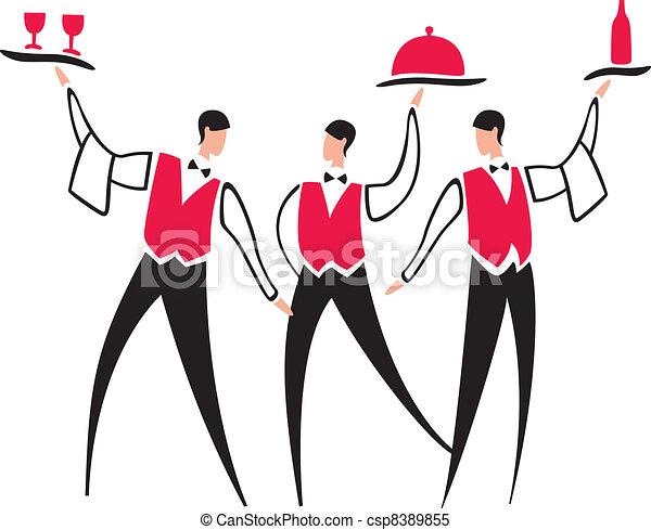 Vector - Waiter service  Waiters Clipart