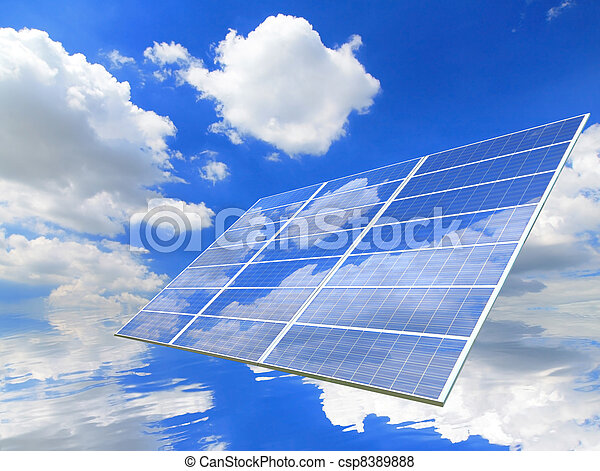 blue sky and white cloud reflection on Solar Panel - csp8389888