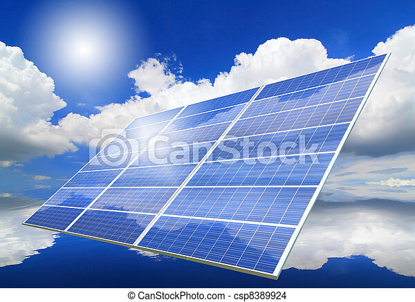 Solar Panel with reflection of blue sky ,white cloud and sun - csp8389924