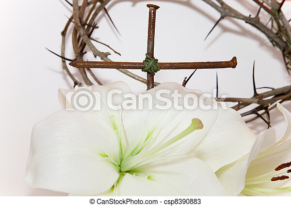 Crown of Thorns, crucifix and Easter white Lily  - csp8390883