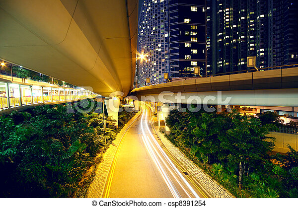 downtown area and overpass in hong kong - csp8391254