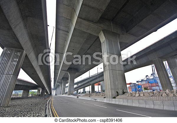 Under the bridge. Urban scene - csp8391406