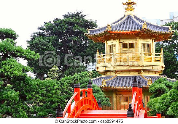 Pavilion of Absolute Perfection in the Nan Lian Garden, Hong Kong.  - csp8391475