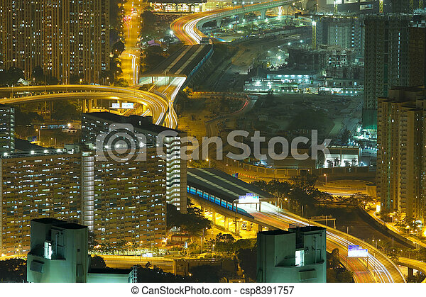 Aerial view of city night - csp8391757
