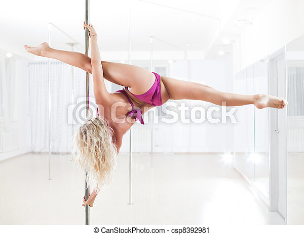 Young pole dance woman - csp8392981