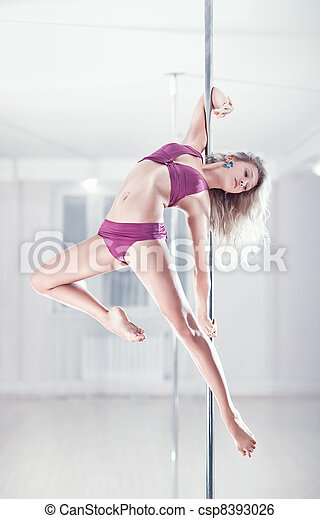 Young pole dance woman - csp8393026