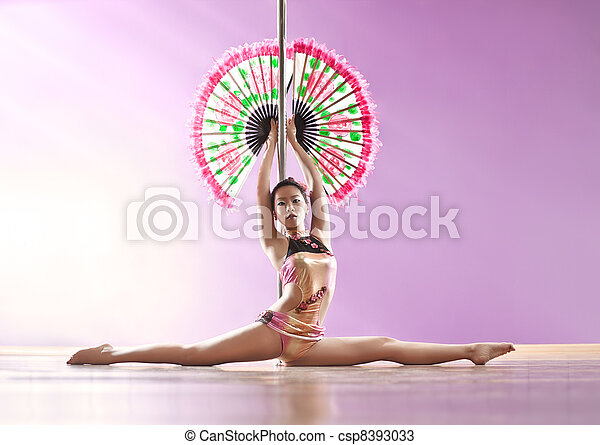 Young pole dance woman - csp8393033