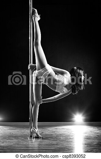 Young pole dance woman - csp8393052