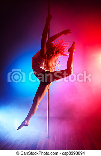 Young pole dance woman - csp8393094