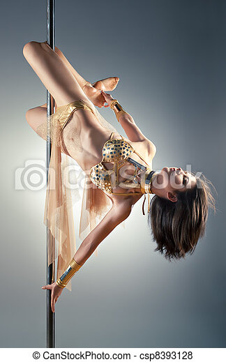 Young pole dance woman - csp8393128