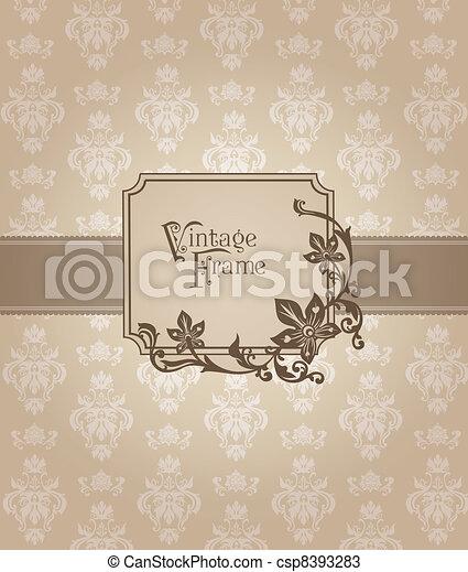 Beautiful Retro Card - for invitation, greetings, congratulation, wedding in vector - csp8393283