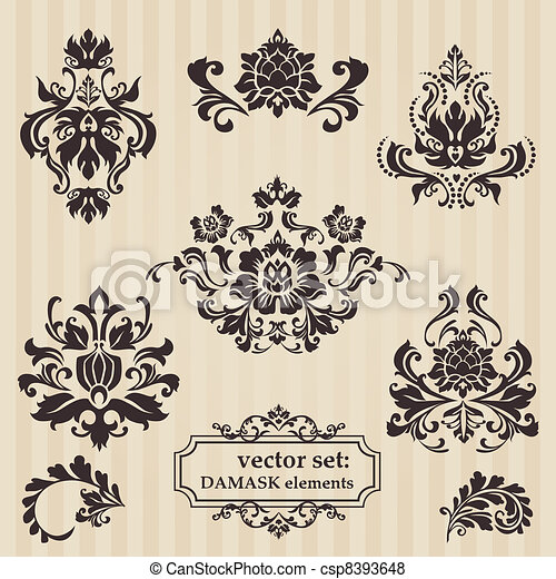 Set of ornamental DAMASK illustrations - for your design, invitation, greetings in vector - csp8393648