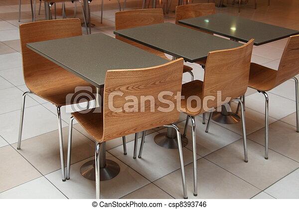Stock beeld van kantoor of voedingsmiddelen versieren stoelen tafels csp8393746 zoek - Versieren kantoor ...
