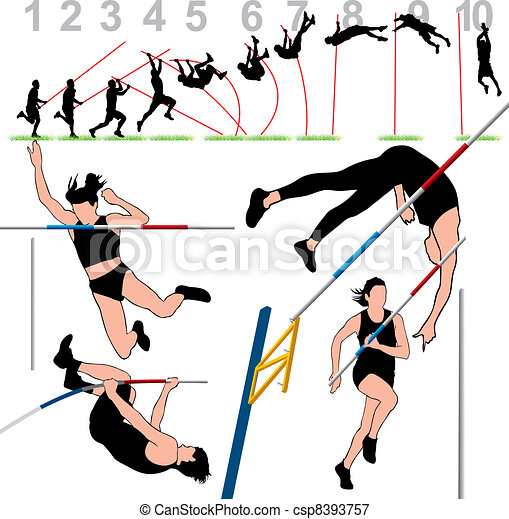 Pole Vault Athletes Set  - csp8393757