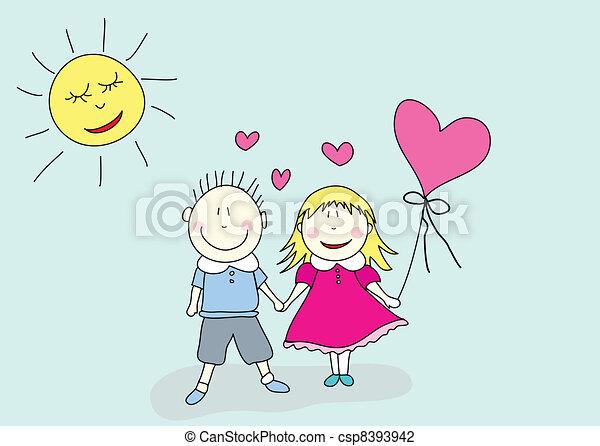 boy and girl, valentine's day - csp8393942