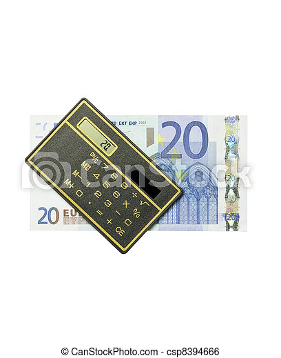 calculator and 20 euro bill - csp8394666