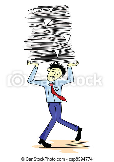 Tired man carrying paper work - csp8394774