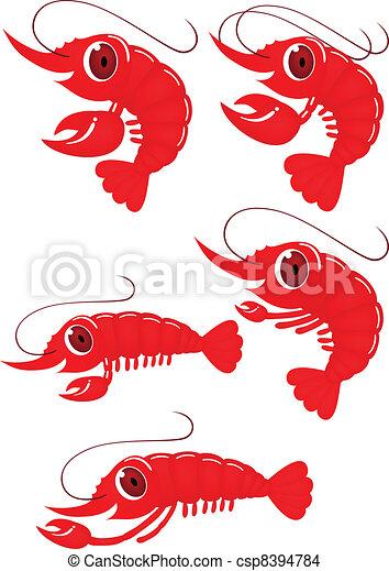Funny shrimp cartoon - csp8394784