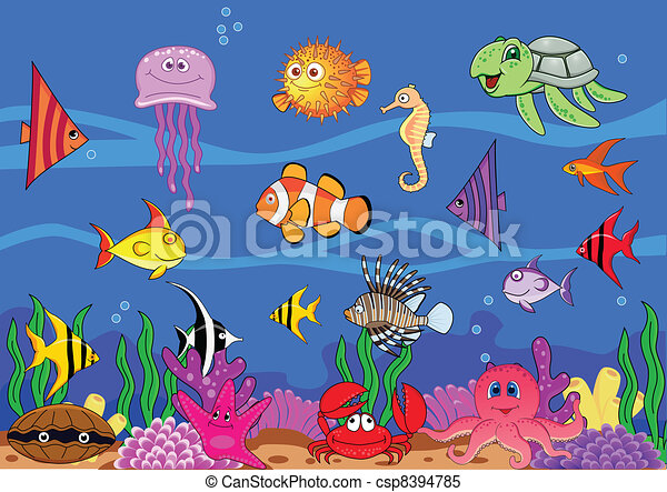 Sea life cartoon - csp8394785