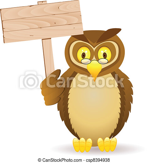 Owl with blank signboard - csp8394938