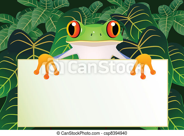Frog with blank sign - csp8394940