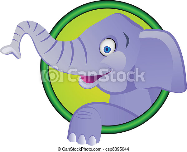 Funny elephant cartoon - csp8395044