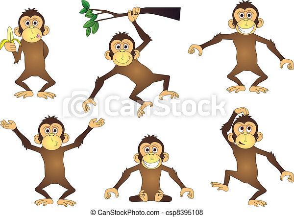 Vector of Monkey cartoon collection - Vector illustration of funny ...