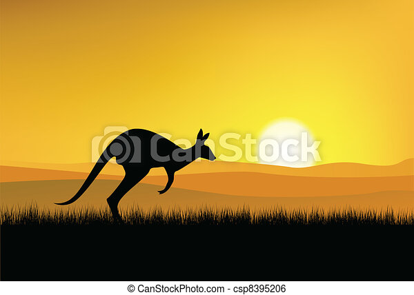 Kangaroo silhouette - csp8395206