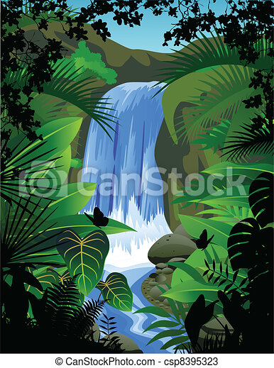 Tropical forest background - csp8395323