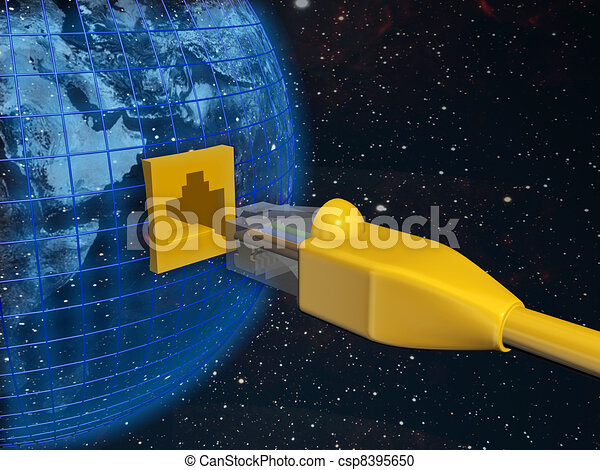 A ethernet connected globe. 3D rendered Illustration. - csp8395650
