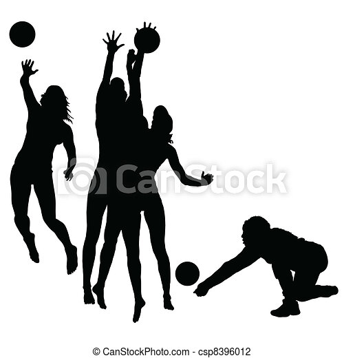woman play volleyball silhouette - csp8396012