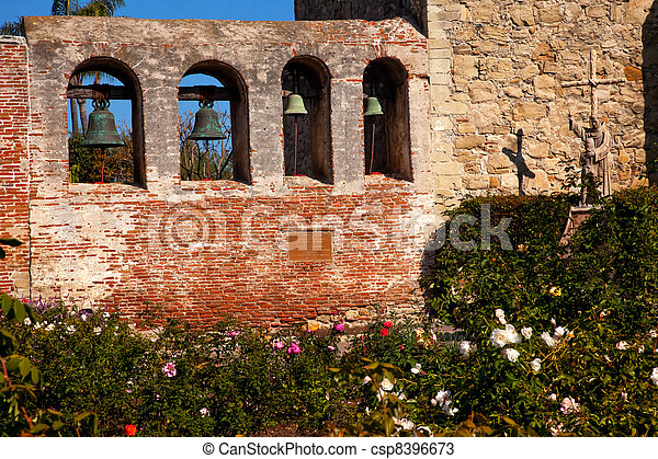 Mission San Juan Capistrano Church Wall Bells Ruins Rose Garden  - csp8396673