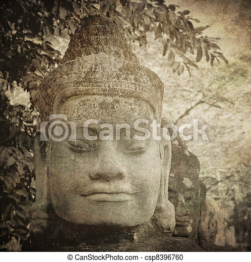 Vintage image of gate guardian, Angkor, Cambodia