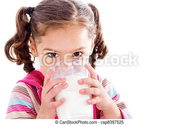 Child drinking milk - csp8397525